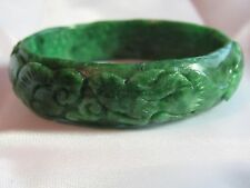 55.5mm NATURAL Green Jade Carved Wealth Two Rabbits RuYi Bangle Bracelet 2-3/16""