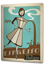 Tin Sign XXL Coffee Cafe Bar Espresso coffee maker italian women cartoon