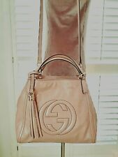Gucci Authentic Pink Beige Patent Leather Shoulder Bag Soho Purse NICE Beautiful