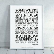 Over the Rainbow Song Lyrics Print Poster (Unframed) Wall Art Decor Wizard of Oz