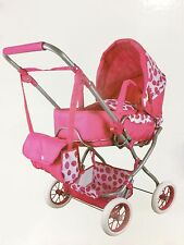 Kids Pram Doll 4 Wheeled Girls Dolls Stroller Buggy Pink Carriage Childrens Toys