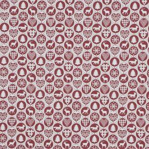 Cotton Rich Linen Look Fabric Scandinavian Wildlife Circles Reindeer Upholstery