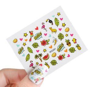 Hello Summer Party Nail Art Sticker Decal Decoration Manicure Water Transfer