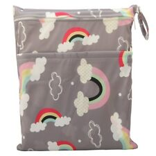 Wet Dry Bag Baby Cloth Diaper Nappy Bag Reusable With Two Zipper Pockets Rainbow