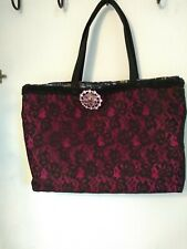 Handmade Lace Tote Bag Burgundy