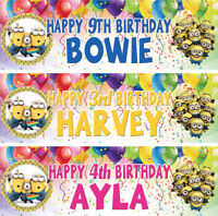 2 x Personalized Minion Despicable Me Birthday Banner Nursery Kid Children Party