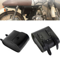 Black PU Leather Motorcycle Handlebar Sissy Bar Saddlebag Tool Pouch Pocket Bag