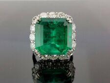 Certified 18.00 Carat Colombian Emerald & Cubic Zirconia 925 Silver Wedding Ring