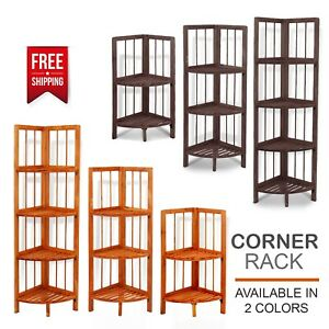 Luxury Wooden Corner Shelf Standing Shelving Rack Home Decoration Unit 2,3,4Tier