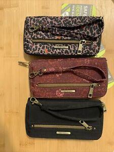 Travelon RFID Safe ID Zip Around Wallet Organizer Wristlet NWT Lot 3 Bundle