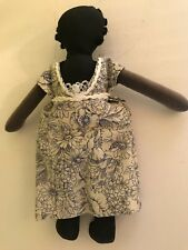 """African American cloth 9"""" primitive doll in blue floral dress"""
