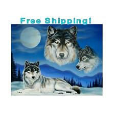 Wolf Poster Wolves Wolf Painting Wolf Picture Wolf And Full Moon Artwork