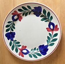 Antique Plate Societe Ceramique Maestricht Holland Red Blue Floral 9""