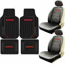New 8pc Front Sideless Seat Covers Elite Rubber Floor Mats Set Car Truck for GMC