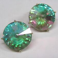 Vintage Earrings Heliotrope Crystal Watermelon Rivoli Disco