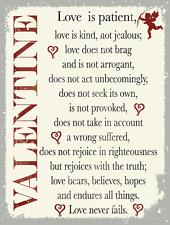 Valentine Metal Sign, Love is Patient, Timeless Motivational Modern Home Decor