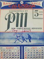 Vintage WWII Era 1941 MLB Baseball Calendar Schedule by PM Newspaper New York