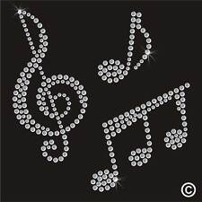 Musical Notes Rhinestone Diamante Transfer Iron On Hotfix Gem Motif Applique Gem