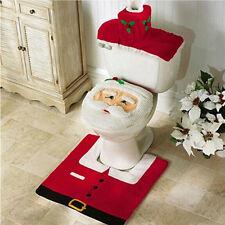 Happy New Year Santa Toilet Seat Cover & Rug Bathroom Set Christmas Decorations