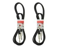"""2 x Chord 6m Jack to Jack Stereo TRS 1/4"""" Cable Lead"""