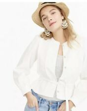 NWT!!  J. Crew Women's Linen Embroidered Jacket Blazer Ivory Size 14