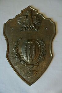 Vtg Brass Polska Poland Eagle Crest Wall Plaque