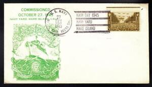 USS NEREUS AS-17 COMMISSIONING & NAVY DAY 1945 Fancy Cancel Naval Cover A7062