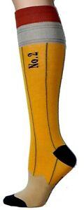 Foot Traffic Yellow Gray Pencil Design Knee High Women's Cotton Blend Socks New