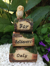 Miniature Figurine FAIRY GARDEN ~ Wood Look Cairn Owl Sign For Believers Only