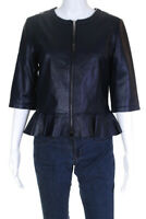 My Tribe Womens Leather Solid Crewneck Zip Up Jacket Blue Size M