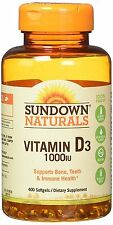 Sundown Naturals Vitamin D3 1000 IU 400 Softgels Supports Bone Teeth and Immune