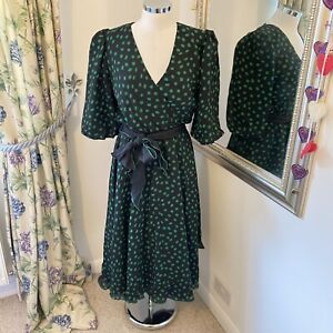 Vintage Gina Bacconi Uk 12 green black spotted puff sleeve party midi dress