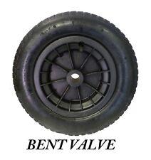 "BLACK wheelbarrow 16"" / Trolley Wheel Pneumatic Tyre 4.80 / 4.00 - 8 BENT VALVE"