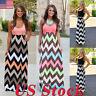 US Plus Size S-5XL Boho Women Maxi Dress Sleeveless Summer Long Beach Sundress