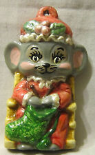 Hand Painted Vintage Ceramic Mouse on a Chair w/her Stocking Ornament 3""