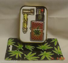 Smokers set inc 2 oz Tobacco Tin, Pipe, Pipe Screens and Oil Lighter