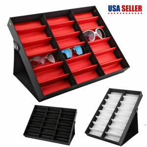 18/16 Grid Sunglasses Box Organizer Glasses Display Case Holder w/Foldable US