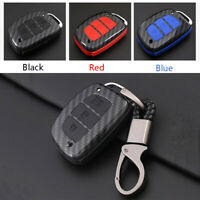 Carbon Fiber Shell+Silicone Cover Remote Key Holder Fob Case For Hyundai Ix35 C