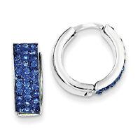 925 Sterling Silver Polished Indigo Blue Preciosa Crystal Hinged Hoop Earrings
