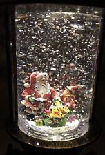 "SANTA Christmas LIGHTED SWIRLING LANTERN SNOW GLOBE WATER 10"" Night Light"