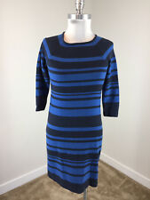 Ann Taylor XS P Blue Stripe Knit dress 3/4 sleeve stretch sheath boat neck