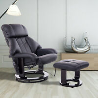 Massage Recliner Ottoman Set Lounge Set 10 Vibration Motor Black