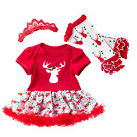 Baby Girls Dress Romper Christmas Outfits Newborn Xmas Party Clothes Playsuit