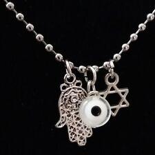 Stylish Brand New Necklace in Stainless Steel Hamsa Jewish Star Eye