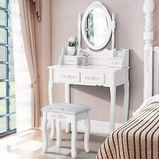 Vanity Makeup Dressing Table Set Stool 4 Drawer & Mirror Jewelry Wood Desk White