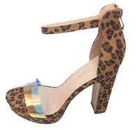Womens Ladies Leopard Faux Suede High Heel Party Shoes Sandals Size UK 5 6 7 New