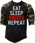 Men's Eat Sleep Wrestle Repeat Camo Baseball Raglan T Shirt Wrestling MMA TV1