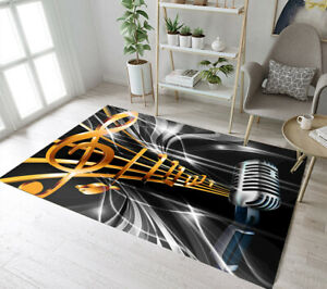 Music Note Microphone Pattern Area Rugs Bedroom Carpet Living Room Floor Mat Rug