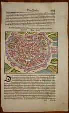 Stampa antica old print Sebastian Munster Milano Lombardia 1560 xilografia
