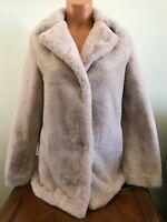 Womens Tahari Faux Fur Jacket Pale Pink Size Small S Coat 6829427M